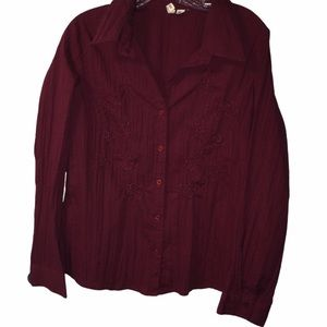 3/$21  St. John's Bay V-Neck Button Down Blouse
